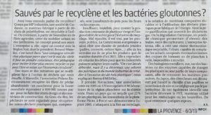 Article La Provence sur le Recyclène